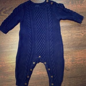GAP Boys Navy Cable Knit Romper 3-6mo